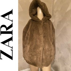 Zara Sherpa hooded coat size xs